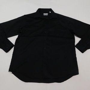 Calvin Klein 17 36/37 Black Button Down Shirt Regu
